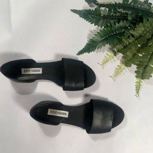 Steve Madden Black Slide On Leather Sandals Size 7